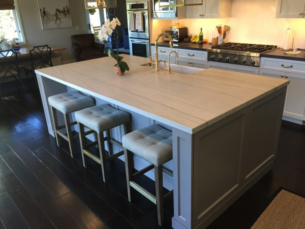 Large Marble Kitchen Island Grey Cabinets Remodel Hauser Houses